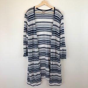 Chico's Lightweight Blue/White Striped Duster